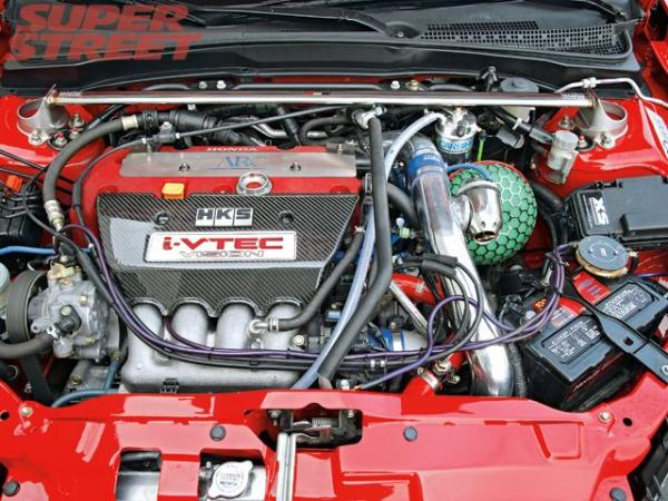 130 0701 12 z+fred changs 2006 acura rsx type s+engine bay hks turbo kit